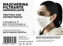 MASCHERINA FILTRANTE BATTERIOSTATICA IDROREPELLENTE RIUTILIZZABILE